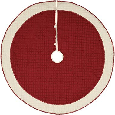 VHC Brands Chenille Christmas Solid Color Cotton Farmhouse Decor Pom Lace Round 55  Diameter Tree Skirt, Cherry Red