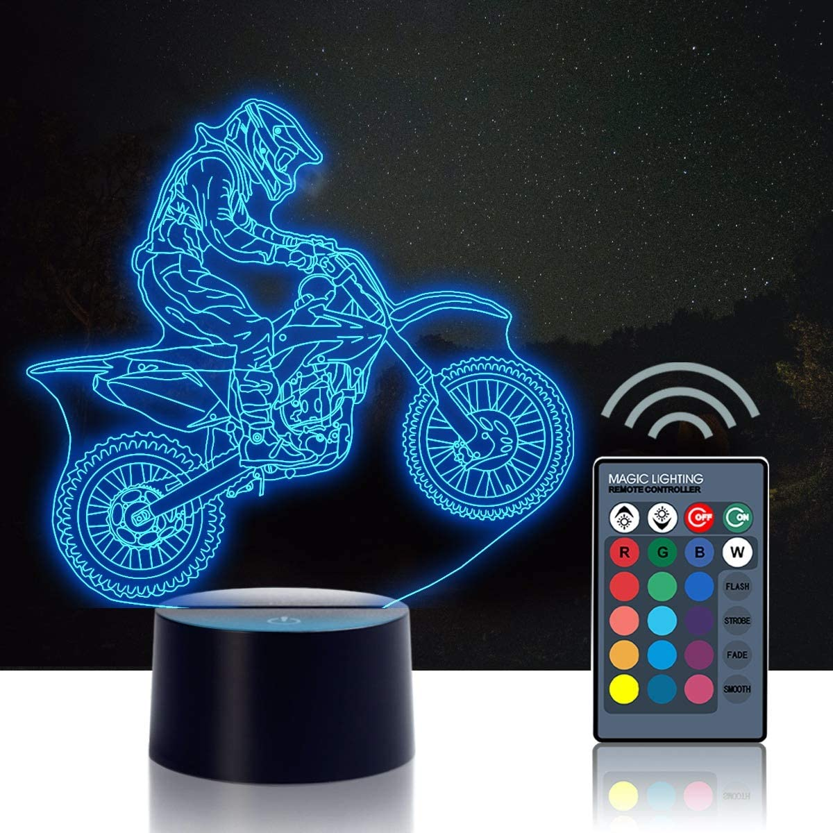 3D Night Light, Urwise Cross Country Motorcycle 3D Night Lamp, 16 Color Changing Light with Remote Control Animal Toys Bedroom Home Decor, for Boys Girls and Kids Birthday Christmas Gift 1001