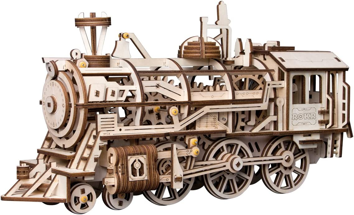 Robotime 3D Assembly Wooden Puzzle Laser-Cut Locomotive Kit