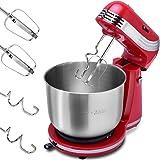 COSTWAY Elektrische Küchenmaschine Rührmaschine Knetmaschine Teigmaschine Schneebesen und Knethaken 6 Geschwindigkeitsstufen 3,5L