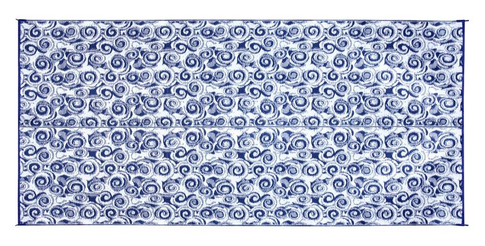 Camco 42841 Stuoia Reversibile per Esterni, 2.44 x 4.88 m, Blu con Motivi a Spirale