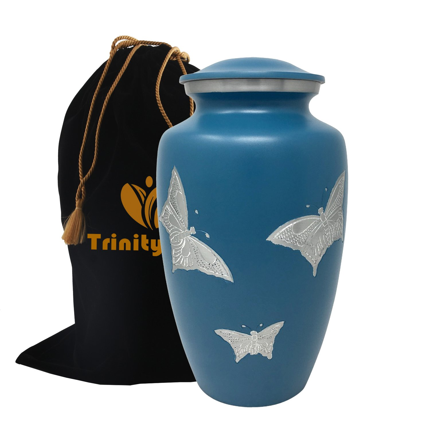 Classic Silver Butterflies Cremation Urn - 100% Handcrafted Butterfly Adult Urn - Solid Metal Funeral Urn - Large Urn for Human Ashes - Great Urn Deal with Free Bag (Pearl Blue)