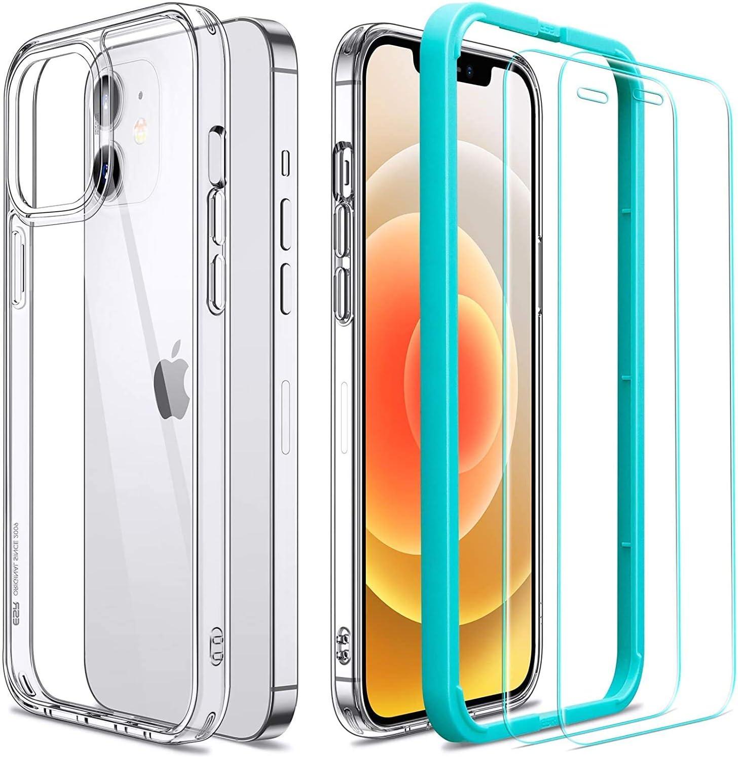 "ESR Funda Transparente para iPhone 12/iPhone 12 Pro + 2 Protector de Pantalla [Tapa Trasera 1,1mm Grosor] [Cristal Templado] [Esquinas con Cámaras de Aire] Funda Ultrafina para iPhone 12/12 Pro 6,1"""