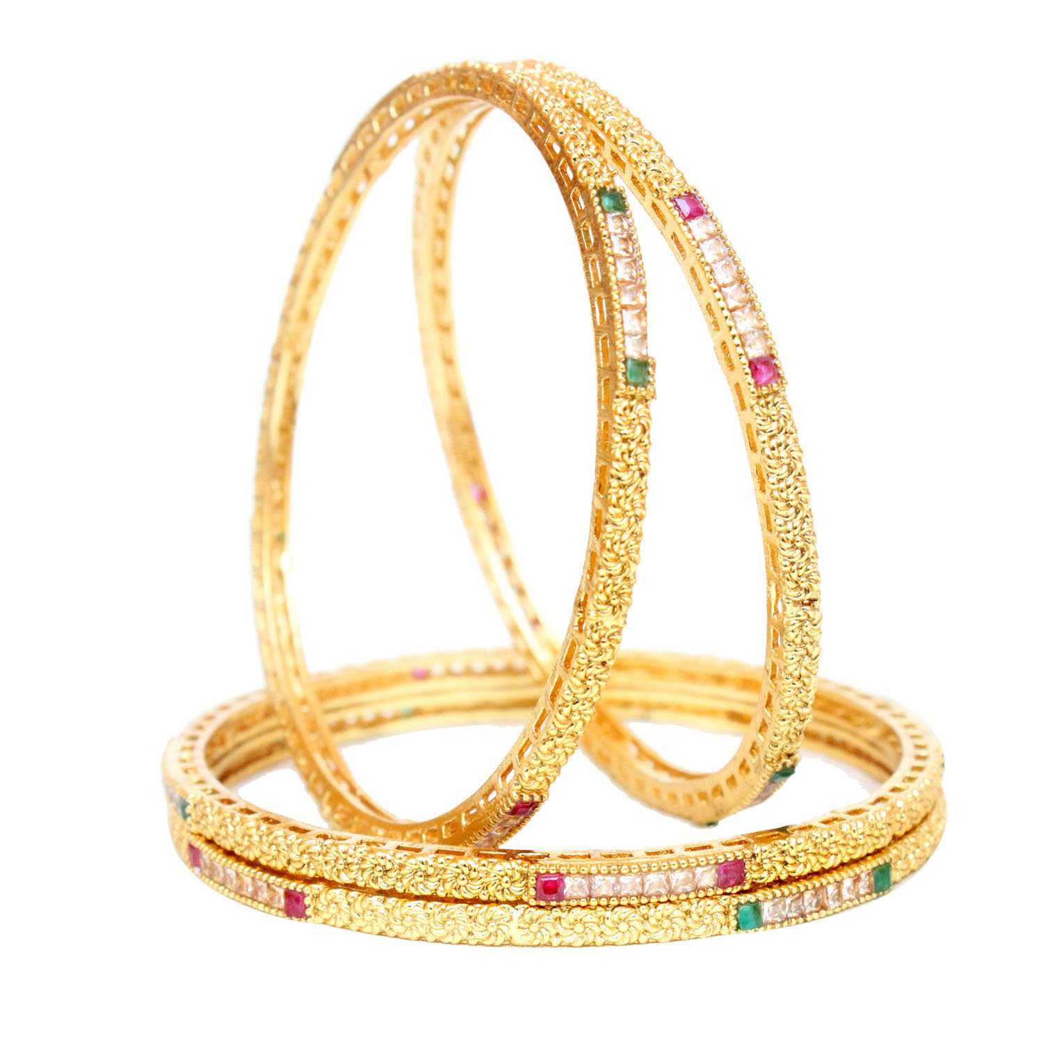 Indian Bollywood Style Gold Plated Polki 4Pc Bangles set Party Wear Traditional Wedding Jewellery (2.8)