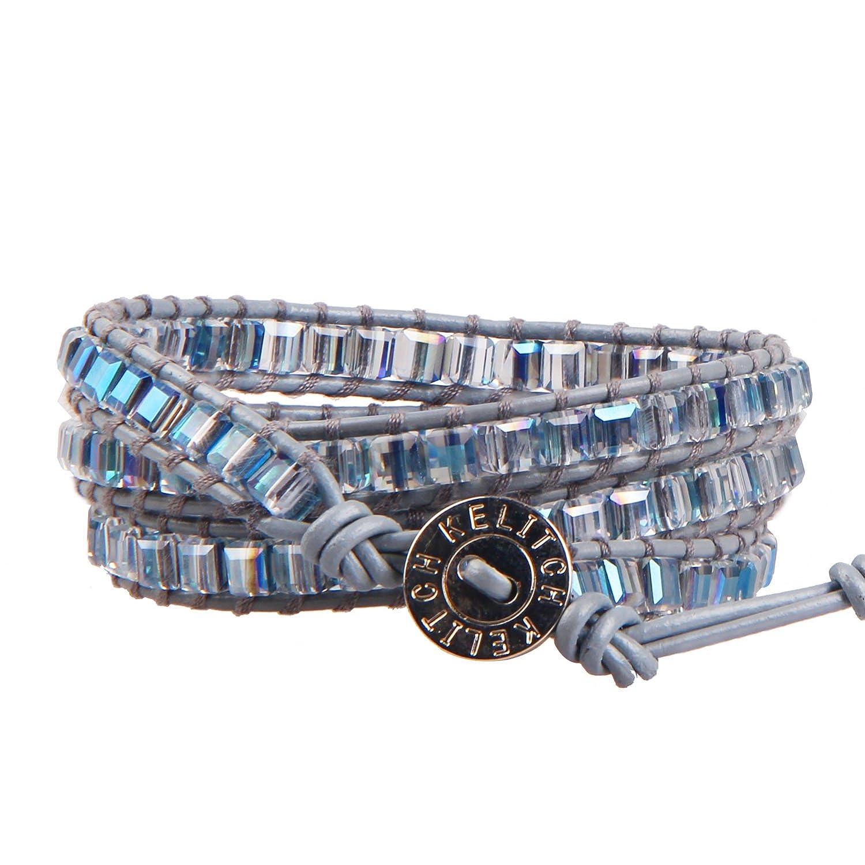 KELITCH Natural Agate Crystal Beads Woven 3 Wrap Bracelet Handmade Fashion Jewelry 23 AZ3W-15047K