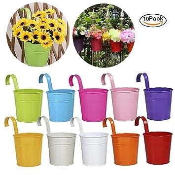 drawihi Metall Topf Aufh/ängen Flower Plant Vase f/ür Home Garten Dekoration mit abnehmbarem Haken wei/ß