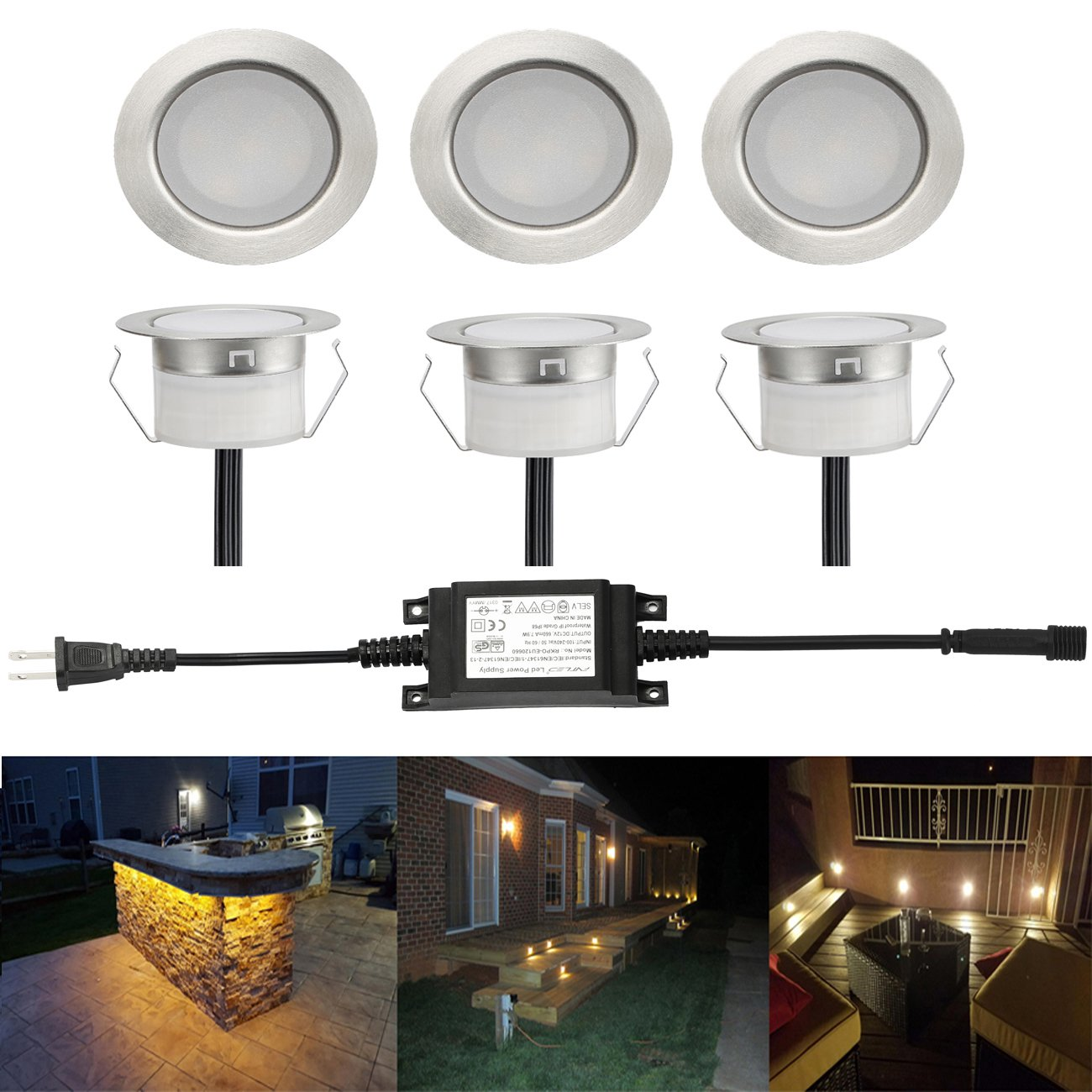 6 Pack LED Deck Lights Kits 1-3/4'' Outdoor Garden Yard Decoration In-ground Light Pathway Patio LED Step Lighting, Warm White