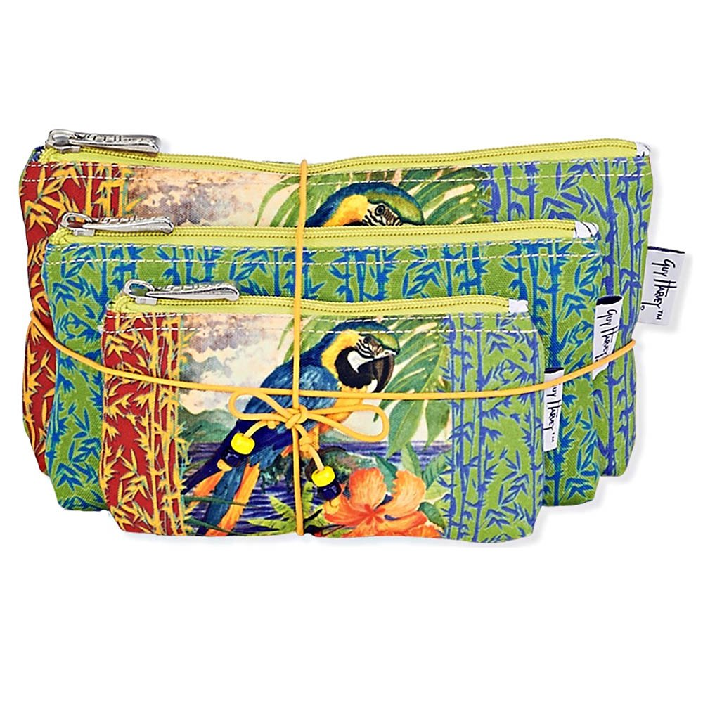 Tropical Jungle Macaw 3 Piece Cosmetic Makeup Bags