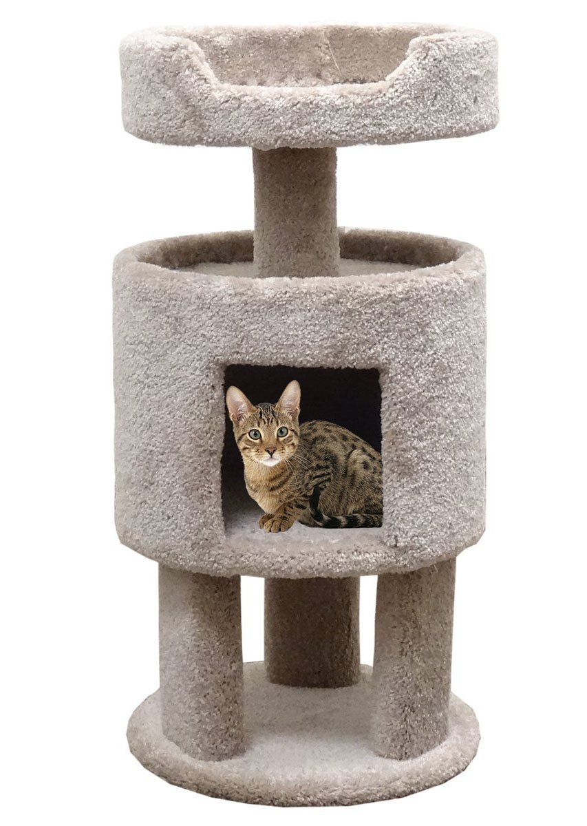 Wood Carpeted Kitty Condo with Perch Cat Condo, Beige Carpet