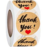 JIANYI 1.5 Inch Thank You Stickers, Decorative Kraft Sealing Stickers for Christmas Gifts, Wedding, Party, 500 Labels Per Rol