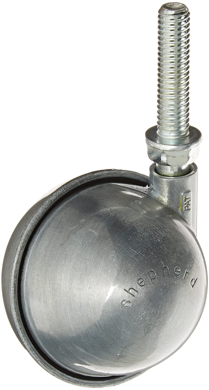 Shepherd Planet Series 2-1/2' Diameter Metal Wheel Caster, 3/8' Diameter x 1-1/2' Length UNC16 Threaded Stem, 100 lbs Capacity, Satin Chrome Finish 3/8 Diameter x 1-1/2 Length UNC16 Threaded Stem Shepherd Caster Corporation 96067