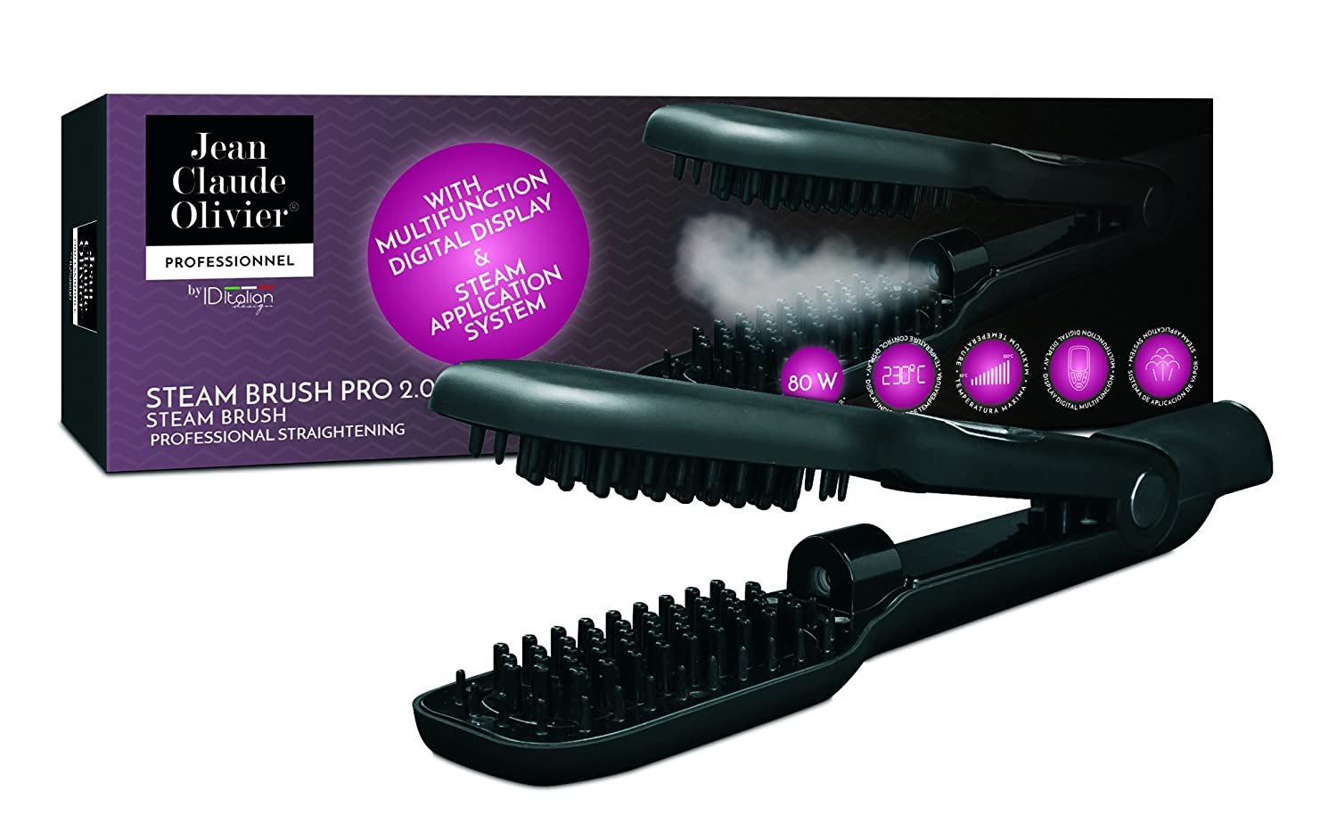 Jean Claude Olivier - Stream Brush | Cepillo Alisador Profesional de Color Negro - 80W: Amazon.es: Belleza
