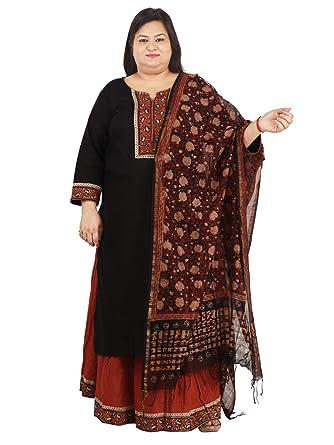 1e9fcff77dc7 Damyantii Women's Set of Black Cotton Long Length Kurti, Cotton Skirt And  Chanderi Duppatta for