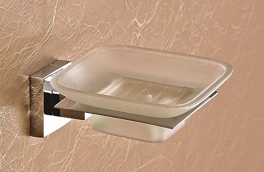 EMBROS Masterpiece Glass Soap Dish - Bathroom Glass Soap Stand - Brass Glass Soap Dish Holder Wall Mounted QUBIX