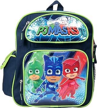 Mochila escolar pequeña con diseño de la serie de televisión PJ Masks, de la marca PJ Masks, con los personajes Catboy, Owlette y Gekko, color verde, ...