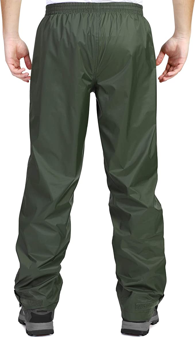 Sondico Mens Rain Pant Pants Water Resistant Zip Outdoor Drawstring Sports