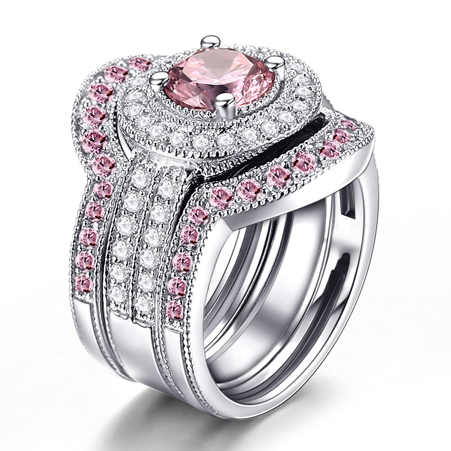 amazoncom caperci 3 piece sterling silver round cz created pink sapphire bridal engagement wedding ring sets jewelry - 3 Piece Wedding Ring Sets