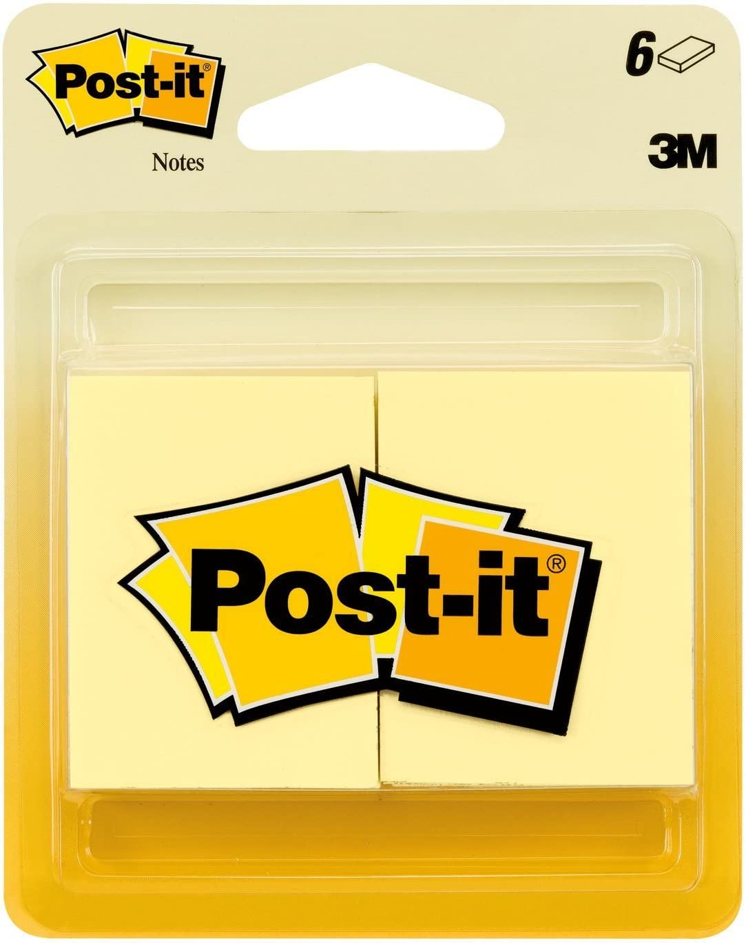 Post-it Notes, America's #1 Favorite Sticky Note, 1-1/2 x 2-Inches, Canary Yellow, 6-Pads/Pack