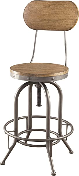 Amazon Com Coaster Home Furnishings Coaster Industrial Rustic Graphite Adjustable Bar Stool With Wood Back And Seat 21 25 W X 46 H X 21 25 D Weathered Oak Graphite Furniture Decor
