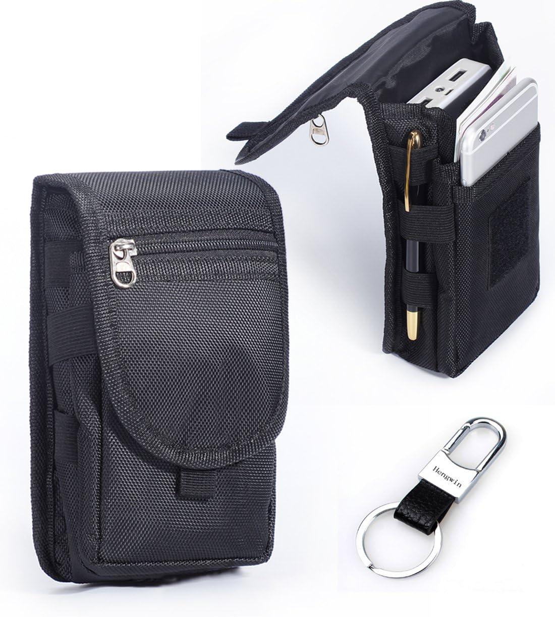 Multipurpose Large Capacity Vertical Nylon Smartphone Holster Belt Loop iPhone 6 Plus Holster Belt Clip Waist Bag Money Pocket Carry Pouch for LG G3/G4 Galaxy Note 5 S6 Edge Keyring-Black