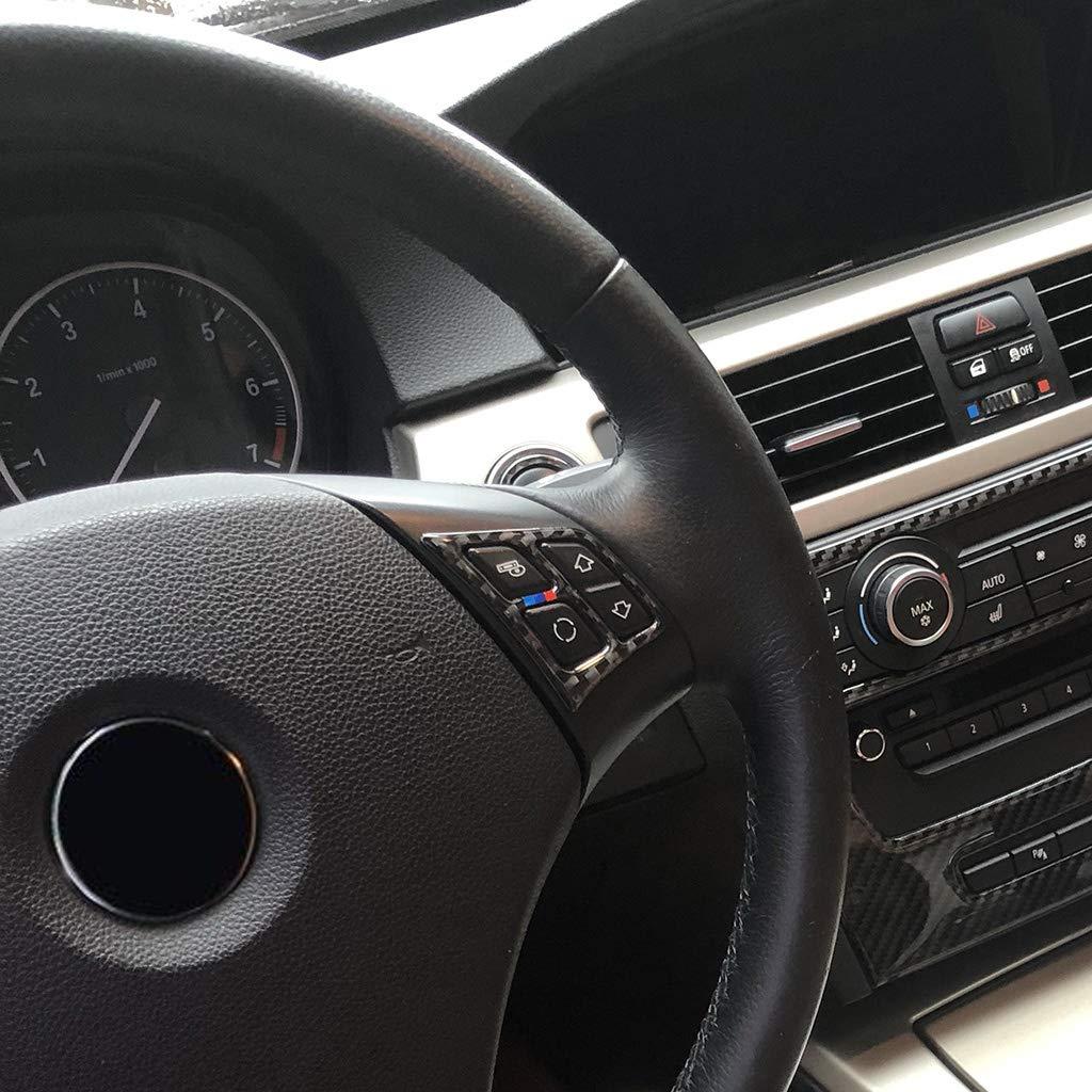 Ajuste de la cubierta del bot/ón del volante del estilo de la fibra de carbono del ABS para Serie 3 E90 2005-2012 style 1