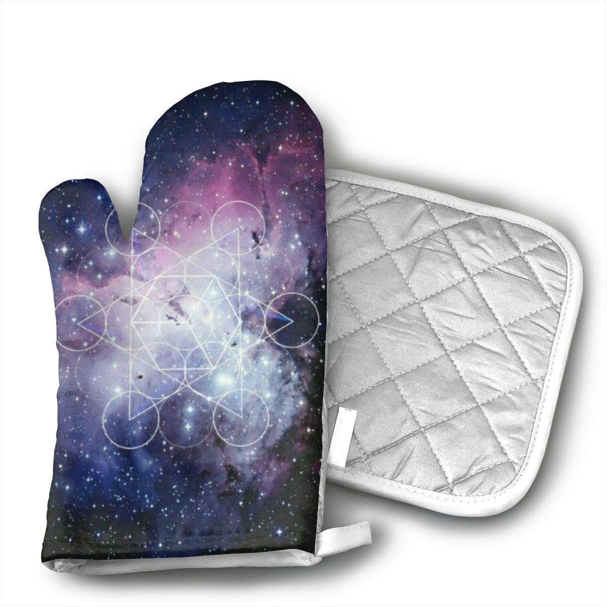 TUJABZA71 LZVQBQDYAA Outer Space Infinity Galaxy Universe. Oven Mitts Heat Resistant Cooking Gloves Non-Slip Waterproof Potholders
