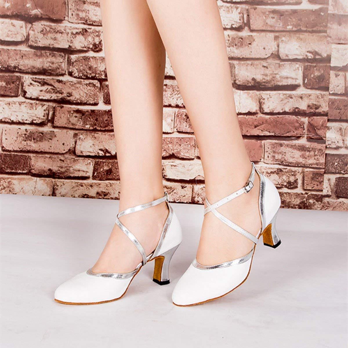 Damen Latin Dance Closed Toe Toe Toe High Heel UP Leder Glitter Salsa Tango Moderne Ballrom Mary Jance Tanzschuhe WeißHeeled6cm-UK5.5   EU38   Our39 (Farbe   Weißheeled8cm Größe   UK4.5 EU36 Our37) 69f1a2