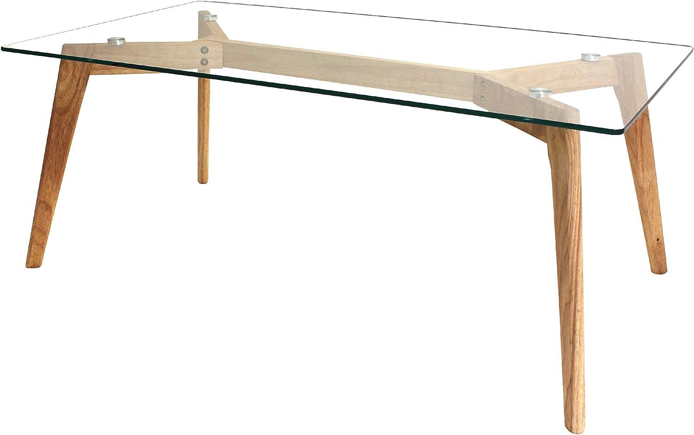 THE HOME DECO FACTORY Mesa, Madera, Transparent-Marron, 110 x 60 x ...