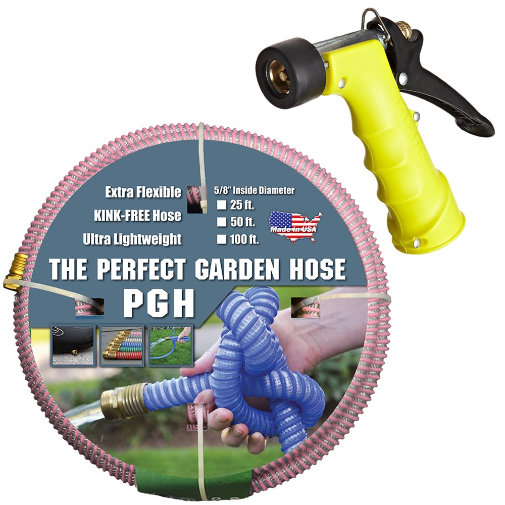 Tuff-Guard 001-0100-0600-SN75 Thermoplastic Elastomer/Polyester/Polypropylene (PP)/Brass The Perfect Garden Hose, Coupled Male x Female GHT, 5/8'' x 50', Pink, GHT Thread, 50' Length, 0.63'' ID by Tuff-Guard