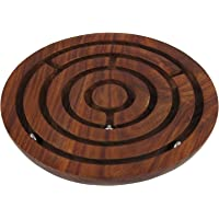 MOJO PANDA Wood Handcrafted Indian Wooden Labyrinth Ball Maze Puzzle Game and Decoration