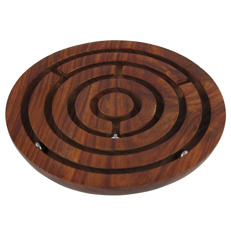 ronde Labyrinthe Labyrinthe Jeu de société Jouets en bois Brain Teaser Jeu de puzzle–Cadeaux pour enfants et adultes Bhartiya Bricoler, Bois dense, marron, 4 Inch