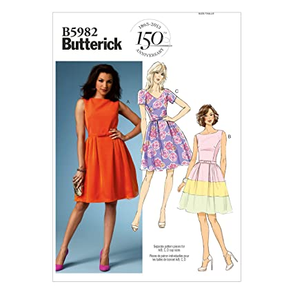 afbe371411d8 Image Unavailable. Image not available for. Color  BUTTERICK PATTERNS B5982  Misses  Misses  Petite Dress and Belt Sewing ...