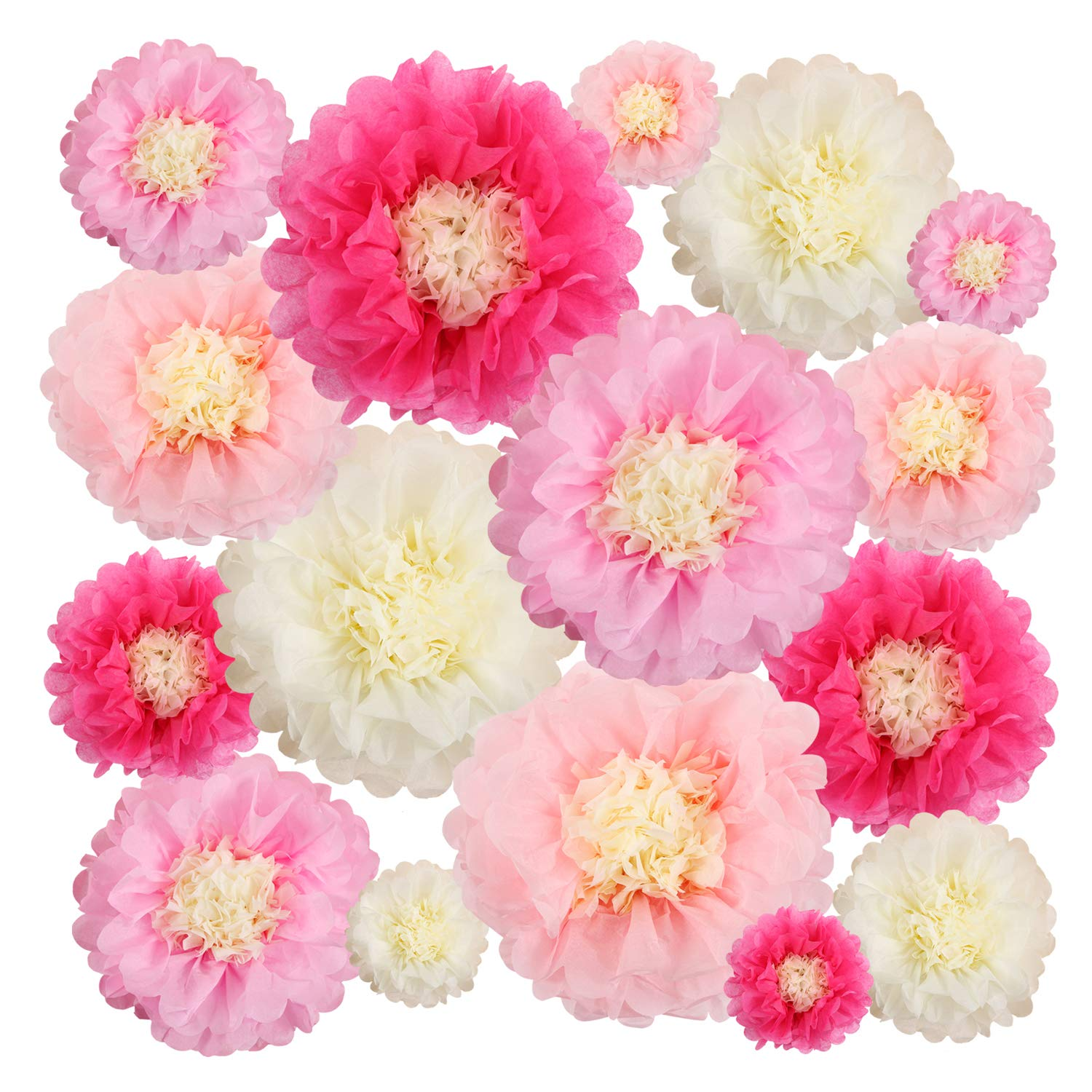 Aunifun 16 Pieces Paper Flower Tissue Paper Chrysanth Flowers DIY Crafting for Wedding Backdrop Nursery Wall Decoration Multicolor Paper Flower