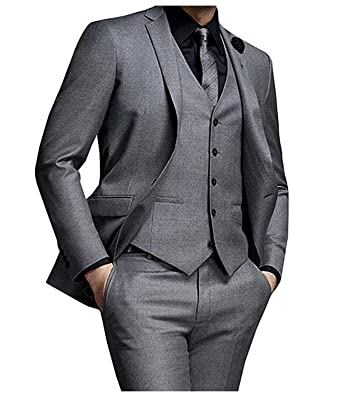 565a263f56bb JY Mens 3 Pieces Mens Suits Groom Wedding Party Tuxedos Formal Suits Dark  Gray