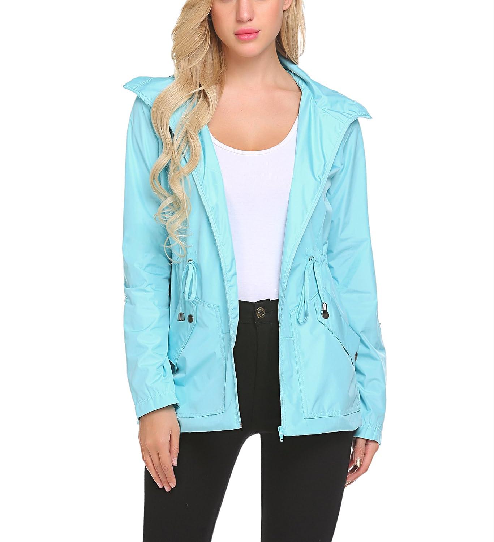 Women's Waterproof Rain Jacket Lightweight Raincoat Outdoor Windproof Jacket Hoodie Coats