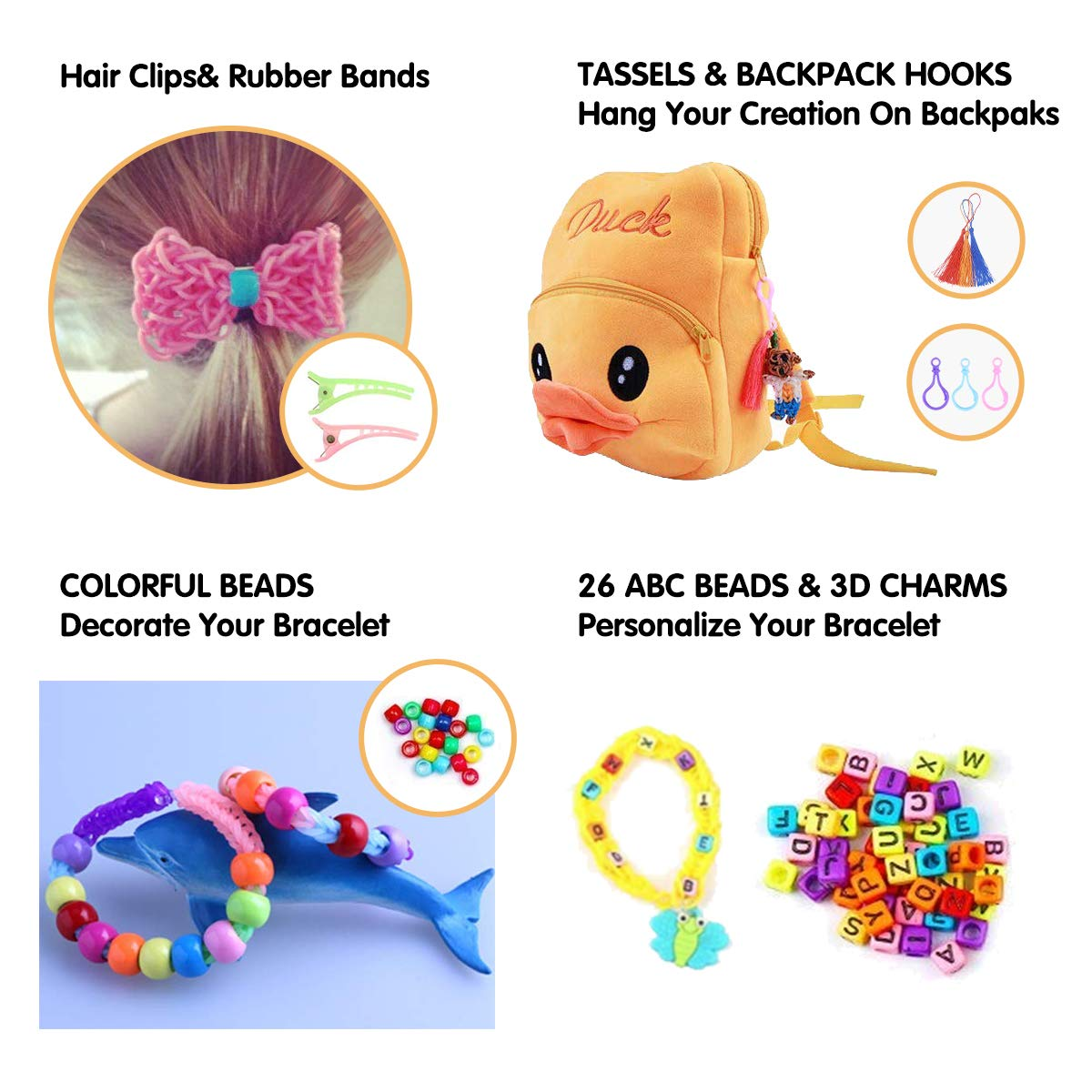 Colorful Over 2000 Loom Bands Rainbow Rubber Bands Refill Kit 24/S-Clips,25/Beads,26/ABC Beads,6 Charms,3/Backpack Hooks,3 Tassels,6/Crochet Hooks,3 Hair Clips,1 Knitter,1 ABC Sticker,etc