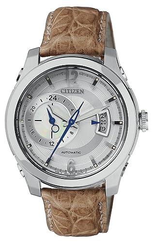 Citizen NP3010-34A - Reloj analógico automático para Hombre, Correa de Piel de cocodrilo Color marrón: Amazon.es: Relojes