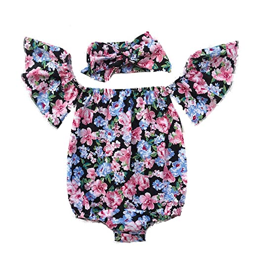 84c3e8c9a Amazon.com: Summer Baby Girls Romper Jumpsuit + Headband Floral Off  Shoulder Ruffles Sleeve Newborn Infant Romper: Clothing