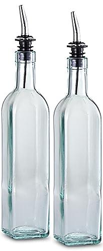 Dispensador de aceite fino de 16 oz. Vinagrera de vidrio con pico cónico de acero inoxidable