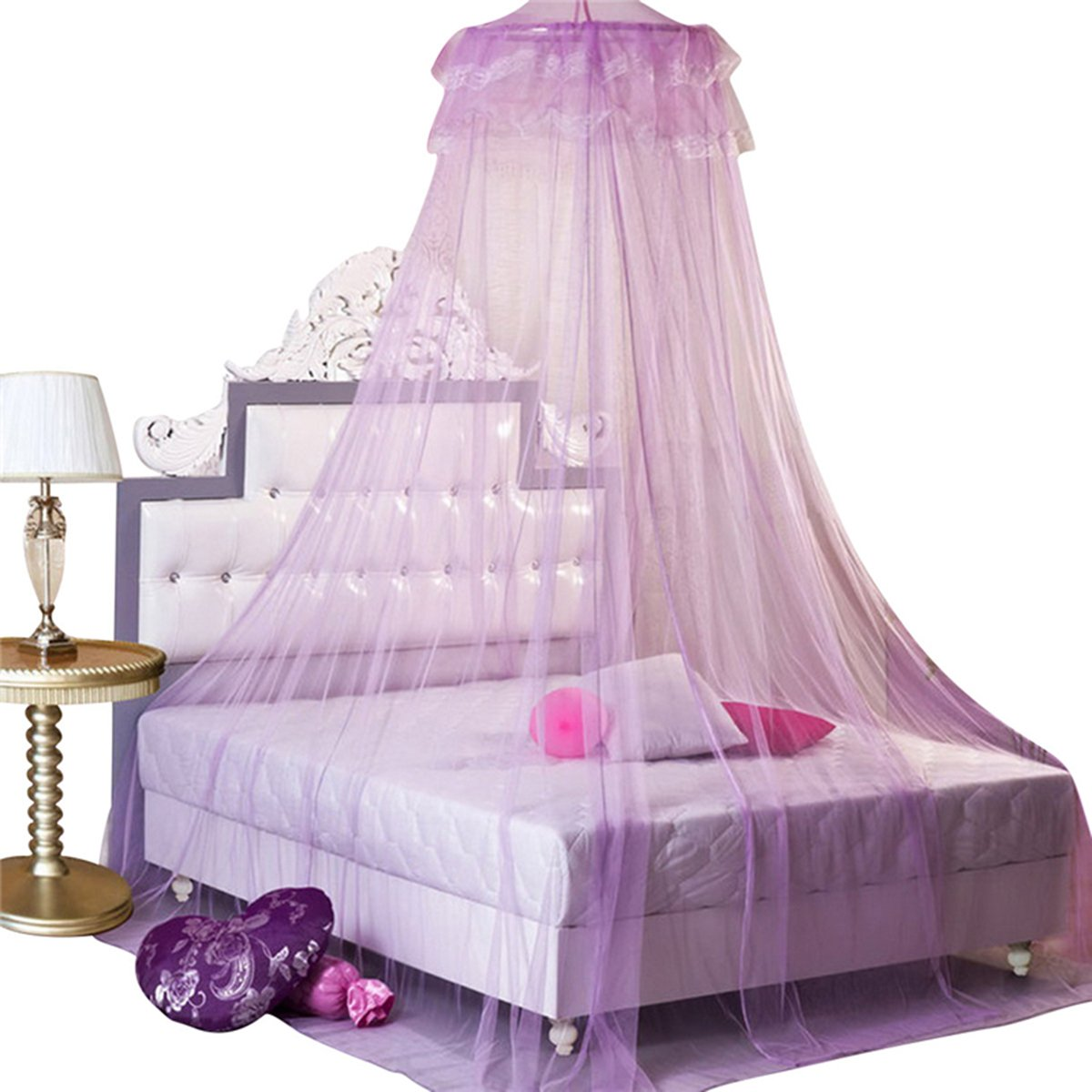 Leegoal New Round Lace Curtain Dome Bed Canopy Netting Princess Mosquito Net (Purple) Housweety HOUSWEETYG00612