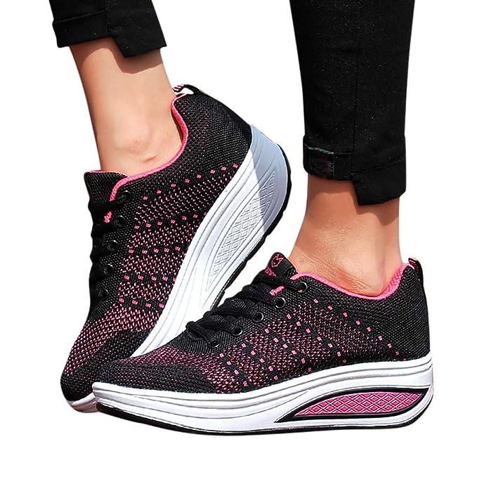 172b10e08bc0 Ladies Rocker Shoes Womens Mesh Lace-Up Wedges Thick Sole Platform Soft  Bottom Tennis Walking