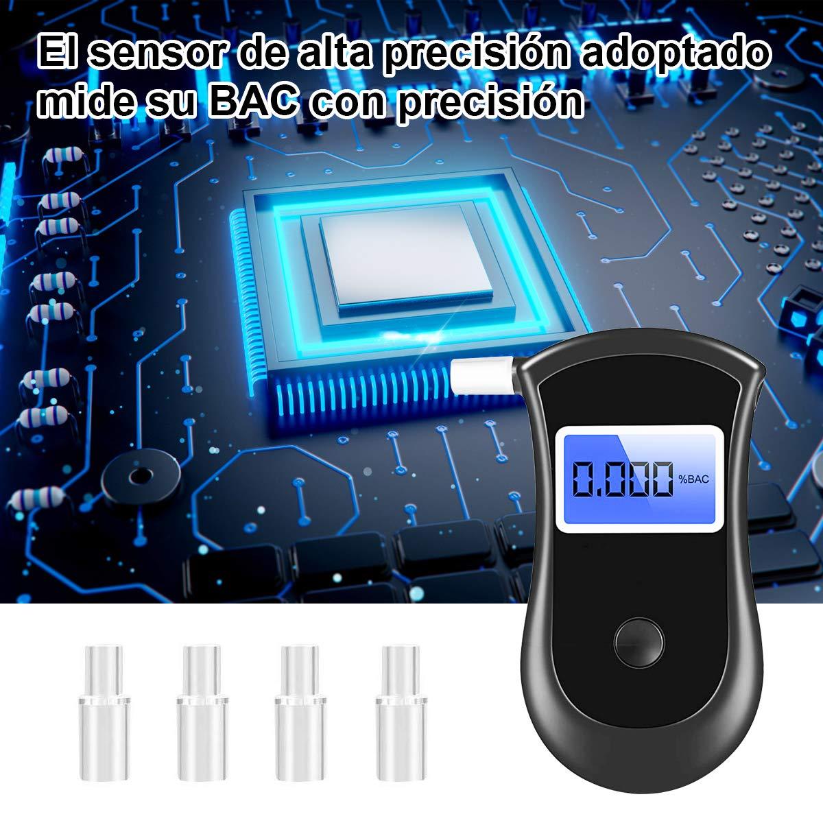 Qfun Alcoholimetro Homologado Alcolimetros Homologados con Pantalla LCD Control Alcoholemia Electroqu/íMico Semi-Conductor de Sensor 4 Boquillas Etilometros de Alcoholemia