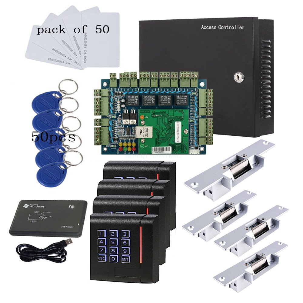 Network 4 Doors Smart Access Control System Electric Strike Lock Fail Secure Enroll USB Reader+110V Power Supply Box+Keypad Reader+RFID Keychains/Cards