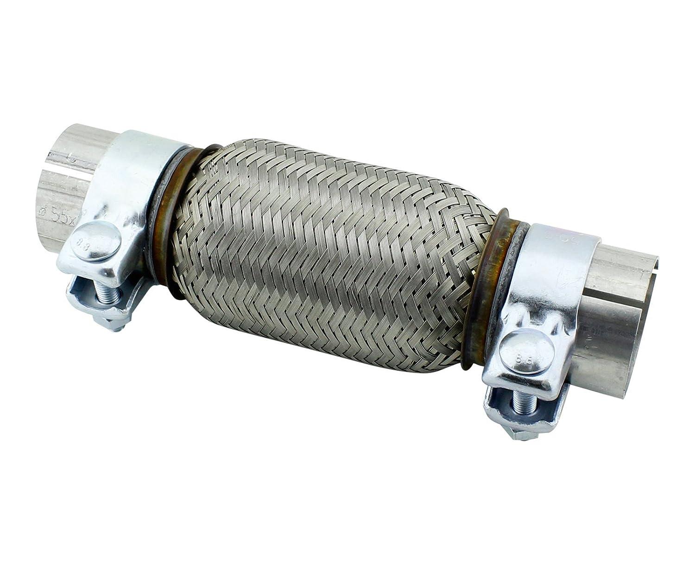 55 x 150 mm tubo flessibile in acciaio inox universale con montaggio fascette myowntrade