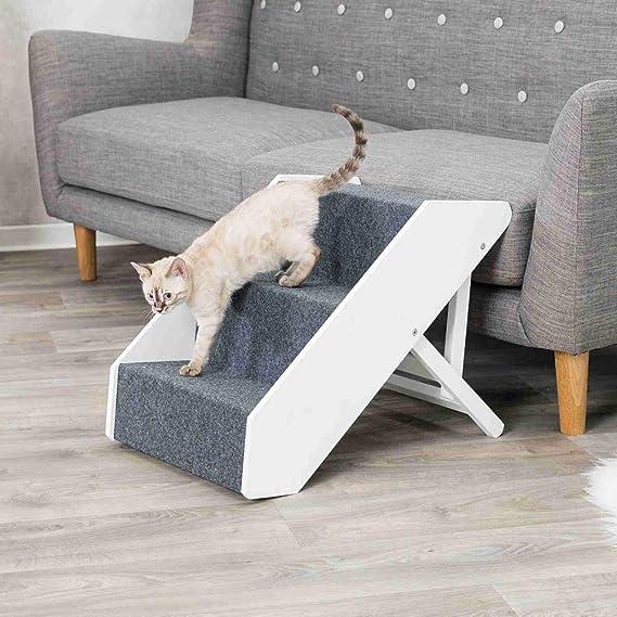 Trixie 39488 - Escalera para Animales de compañía (Ajustable, 3 Niveles, 40 x 67 cm), Color Blanco: Amazon.es: Productos para mascotas