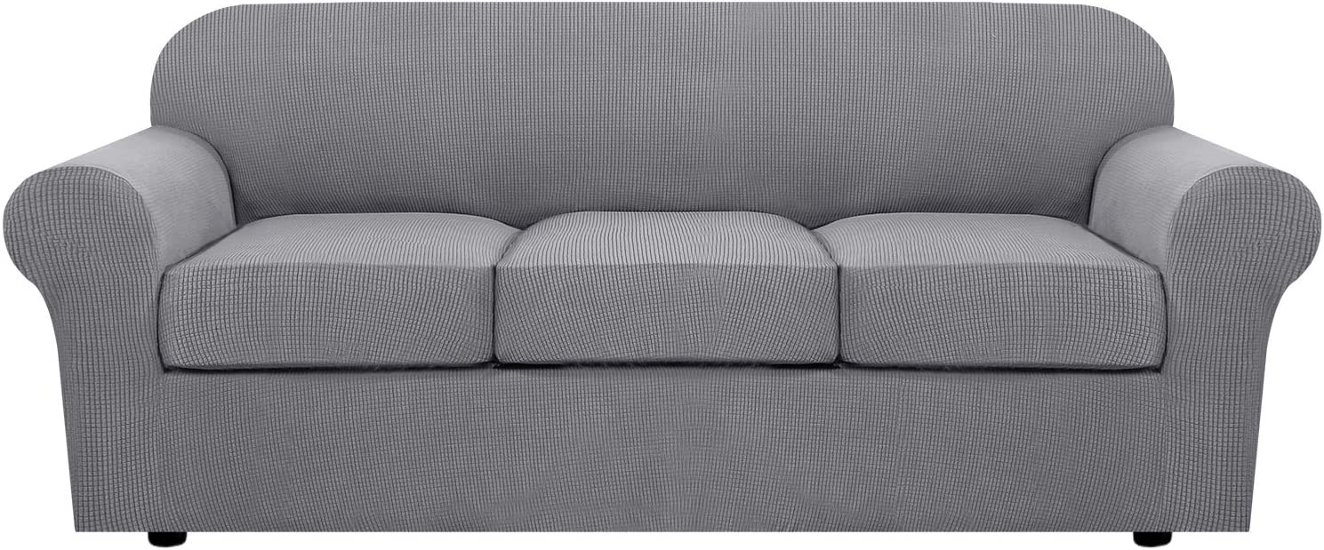 H.VERSAILTEX 4 Piece Stretch Sofa Covers for 3 Cushion Couch Covers for Living Room Furniture Slipcovers (Base Cover Plus 3 Seat Cushion Covers) Feature Upgraded Thicker Jacquard Fabric (Sofa, Dove)