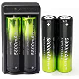 4 X 5800mAh Li-ion 18650 3.7V Rechargeable Battery + 1X Dual Smart Battery Charger For Flashlight Headlamp