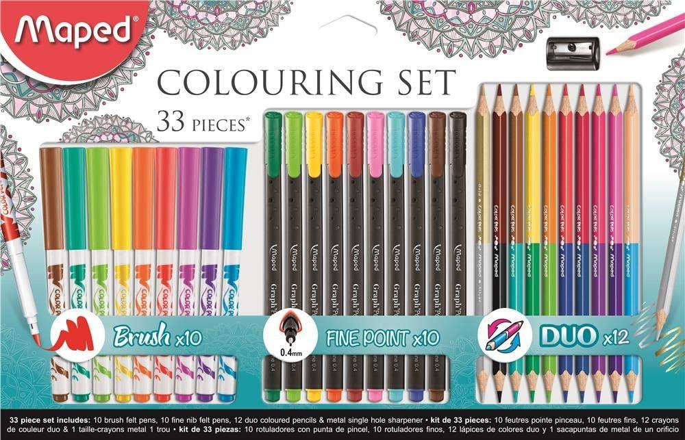 Maped 897417 - Kit de dibujo, 33 piezas lápices y rotuladores: Amazon.es: Oficina y papelería