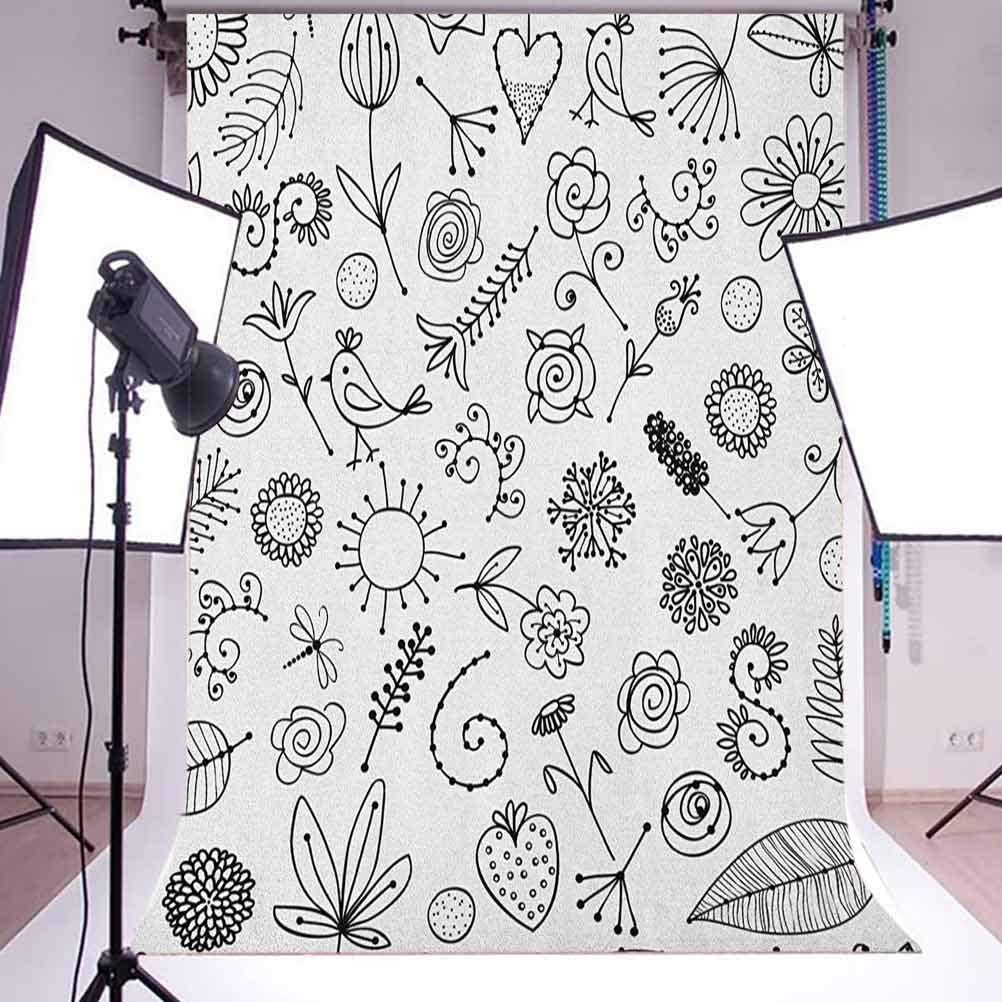 9x16 FT Doodle Vinyl Photography Background Backdrops,Things from Nature in Sketch Form Birds Flowers Strawberry Sunflower Ferns Print Background Newborn Baby Portrait Photo Studio Photobooth Props