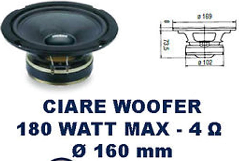 CIARE - Caja acústica midwoofer 180 vatios a 4 ohmios Diámetro 165 ...